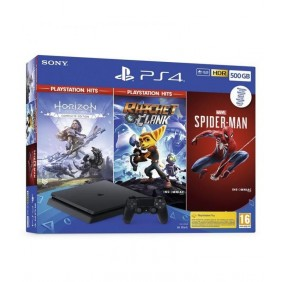 Consola - Sony PS4 500GB, Negro + Marvel's Spider-Man + Horizon Zero Dawn Complete Edition + Ratchet and Clank